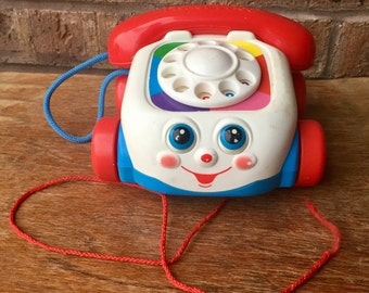 Vintage Chatter Telephone Fisher Price Rolling Toy
