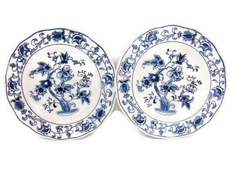 Vintage Ming Tree Saucers Double Phoenix Ironstone Set of 2 Japan Asian Blue and White