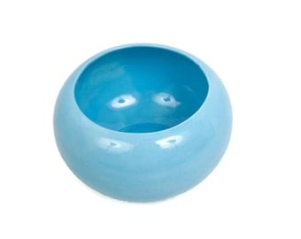 Vintage Aqua Blue Ceramic Bowl Atlantic Mold Turquoise Planter Round Hand Painted Centerpiece Wedding Decor Shower Gift