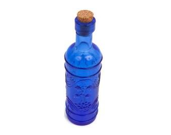 Vintage Blue Genie Bottle Embossed Glass Cobalt Bud Vase Cork Stopper Textured Design Wedding Art Glass Elegant Decor