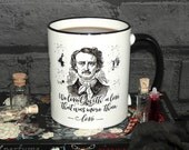 """Edgar Allan Poe Book Mug, Annabel Lee, """"We loved with a love that was more than love"""",  Literary Quote, Gothic Book Mug, UK"""
