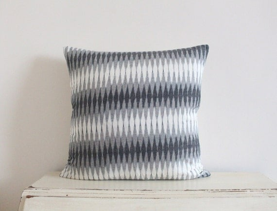 "Diamond Ikat pillow cushion cover 20"" x 20"" in grey and cream"