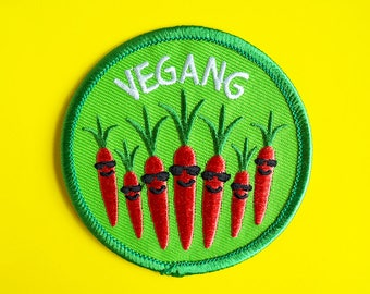 Vegan Patch, Vegetable Patch, Vegetarian Patch, Vegang Patch, Gang Patch, Carrot Patch, Food Patch, Cute Vegan Accessories, Vegan Patches