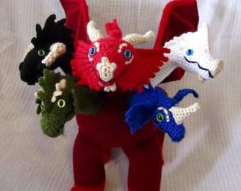 Dungeons and Dragons Tiamat, crocheted amigurumi plush