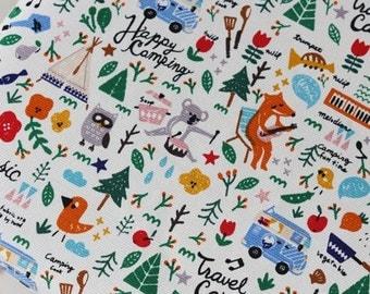 Half Yard scandinavian woodland animal canvas fabric, small prints animal, children fabric, kolar, fox, owl, curtain fabric, table cloth