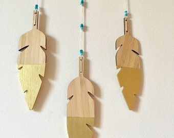 large dream catcher Mobile - feather mobile - gold - bamboo - vegan - gender neutral - turquoise- wingedwhimsy