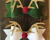 Christmas Rudolph Reindeer Hair Bow Headband/Christmas Felt Bow