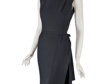 50s or Early 60s Little Black Dress With Hip Swag - sm