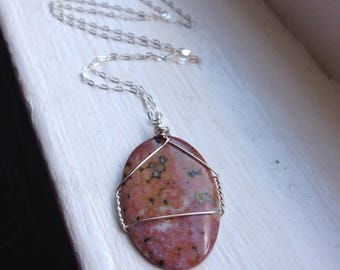 Oval Ocean Jasper Womans Simple Wirewrap with Sterling Silver and 18 Inch Chain - Reiki Healing Crystal Necklace