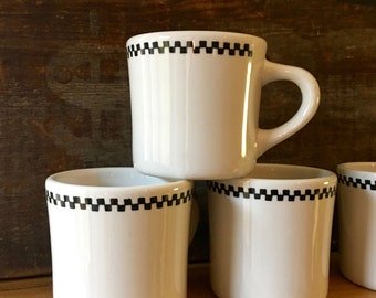 Diner Coffee Mug with Black and White Check, , Heavy Durable Restaurant Ware, Sterling China, East Liverpool, Ohio ca. 1991