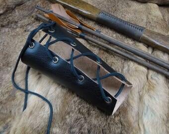 Classic Archery Arm Guard, Medieval Renaissance Leather Bracer Cuff Lace Up - Black
