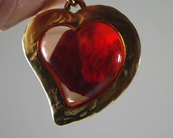 Vintage YSL Yves Saint Laurent Heart Pendant