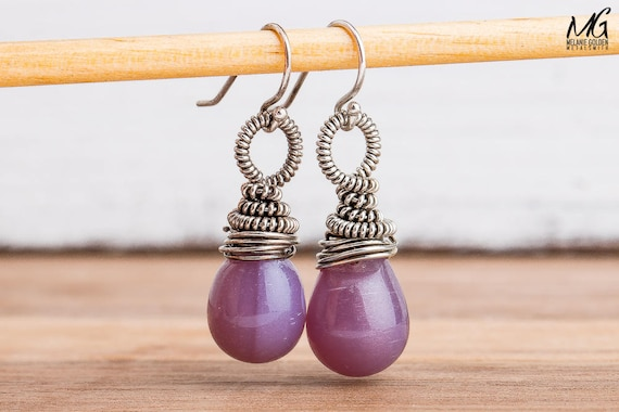 Purple Czech Glass and Sterling Silver Wire Wrapped Earrings