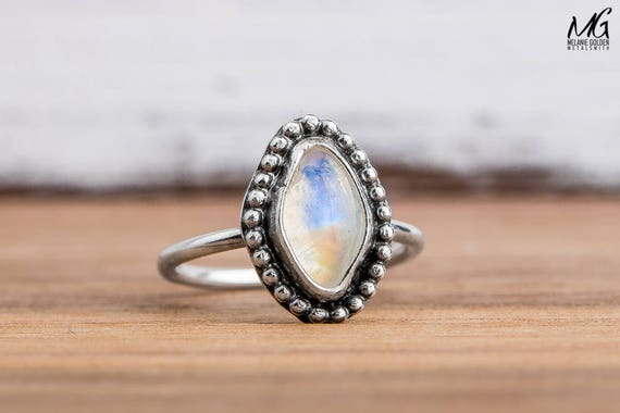Midi Ring - Rainbow Moonstone Gemstone Midi Ring in Sterling Silver - Size 3