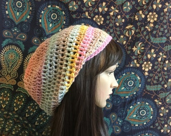 Slouch Beanie, READY TO SHIP, Crochet Beanie, World of Illusion Slouch Beanie, Slouch Hat, Womens Beanie, Slouchy Hat, Womens Slouch Hat