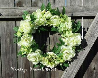 "Spring Garden Wreath 22"" Handmade Green Peonies Hydrangeas Ruscus Custom Design Cottage Style French Country Shabby Chic Farmhouse Decor"