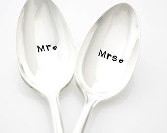 Mr and Mrs Spoon Set. Unique Engagement Gift Idea for Couple.