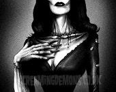 Vampira, Gothic, Zombie Pinup ,Pinup, dark Art Print by Marcus Jones