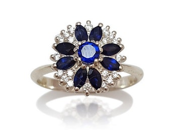 Unique Engagement Ring, Sapphire Engagement Ring, Sapphire Ring, Sapphire Flower Ring, Marquise Cut, Birthstone Ring, Fast Free Shipping