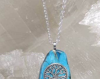 Blue TREE OF LIFE Necklace, Blue Imperial Jasper Necklace, Genealogy Necklace, Genealogy Jewelry, Silver Tree of Life, Mothers Day Gift Her