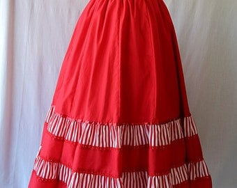 Carefree Fashions Rockabilly Red Skirt Swing Square Dance 80s does 50s