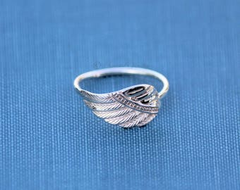 Angel wing ring 3, Sterling silver Angels ring, Indian Inspired, Native American, Stacking Stacker ring, Memorial Jewelry, Boho Ring, wing