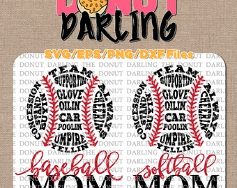 Instant Download: Baseball Mom Softball Mom svg / dxf / eps / png - Cutting File, Vinyl Cutting - Softball Mom SVG Baseball Mom SVG