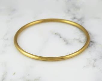 3.25mm Full Round Solid Gold Bangle Bracelet - Simple Gold Bracelet - 3mm Bangle - 10k 14k 18k 22k
