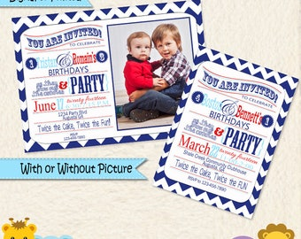 Brothers Combined Party Invites • Dual Party Invitations • Boys Shared Party • Combined Party Ideas • Red and Blue Chevron Invitation