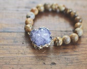 Neutral Druzy Bracelet // Tan Gemstones // Stretch Gemstone Bracelet // Amethyst Druzy // New Item FW16