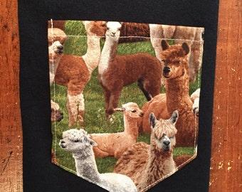 Llama pocket tee shirt s/m/l/xl/xxl/xxxl