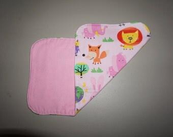 Pink Animal Burp Cloth, Burp Rag