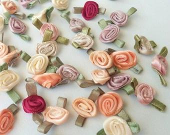 Rosebuds, Rosettes, 40 PC. Assorted Rosettes, Trim, Sewing Trim, Appliques