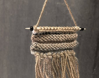 Miniature Wall Hanging- Brown, Beige, Black White- Fringed, Hand Knitted- Natural- Ombre- Boho- Tiny Knits