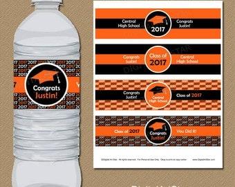 Personalized Graduation Water Bottle Wraps - Class of 2017 Printable Water Bottle Labels - Custom Colors - Orange Black Party Decorations G1