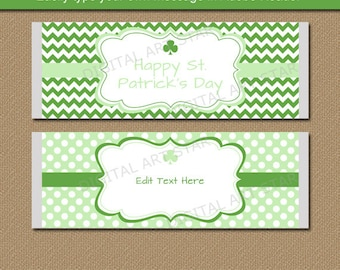 EDITABLE St Patricks Day Candy Wrapper Template - Printable St Patricks Day Large Chocolate Bar Wrappers - DIY St Patricks Day Party Favors