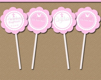 Pink Baptism Cupcake Toppers - Printable Baptism Party Decor - EDITABLE Pink Christening Tags - First Communion Tags - Catholic Tags I1
