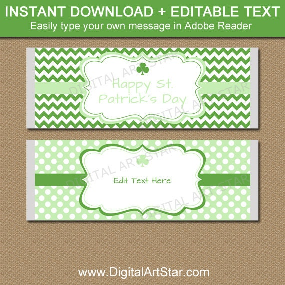 Editable St Patricks Day Candy Wrapper Template Printable St
