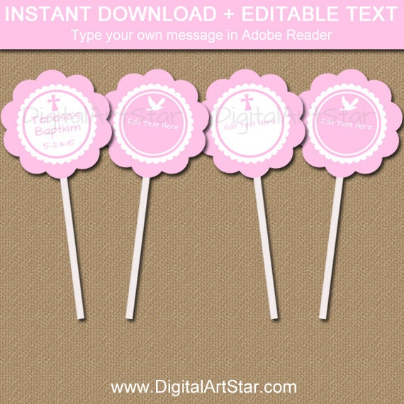 Pink Baptism Cupcake Toppers Printable Baptism Party Decor