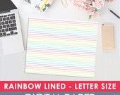 Printable Digital RAINBOW Lined Paper, Letter Size, Midori, Travelers Notebook, Journal, Prayer Journal