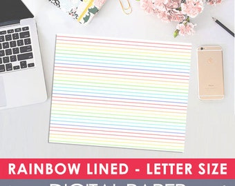 Printable Digital RAINBOW Lined Paper, Letter Size, Midori, Travelers Notebook, Journal, Prayer Journal