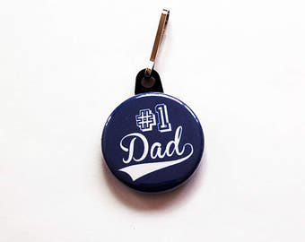 Number 1 dad zipper pull, purse charm, bag charm, Stocking stuffer, zipper charm, gift for dad, fathers day gift, blue (7483)