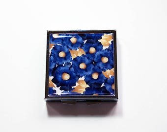 Blue Gold Floral Pill Case, Square Pill box, Square Pill case, Pill Box, bride gift, something blue bride, navy blue, Gift for her (7603)