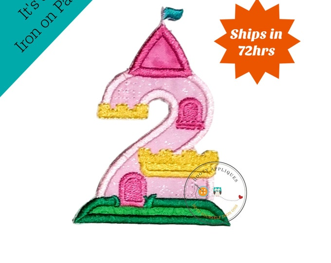 Princess castle birthday number two machine embroidered patch, fast shipping iron on girl birthday applique, Pink and yellow number 2