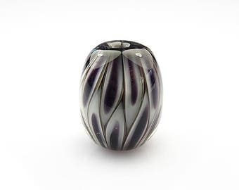 Black and White Lampwork Glass Pod Focal Bead