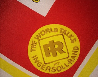 Vintage Ingersoll Rand SILK Advertising Scarf ~ Rosati ~ Rare ~ Large ~ Excellent Condition