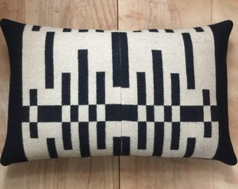 Wool Pillow - Black Beige Geometric Tribal Modern