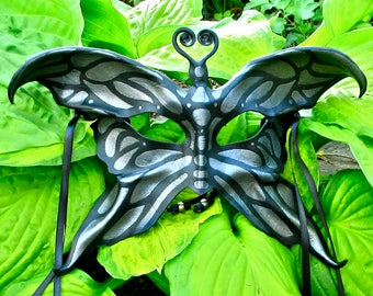 Leather Butterfly Mask, Black and Silver Moth Eyemask with Ribbons, Handcrafted Winged Dark Fae Halfmask (M156)