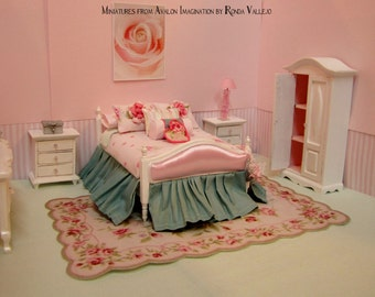 ON SALE! 1:12th dollhouse miniature bedroom bedding furniture complete pink roses cottage chic