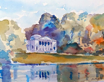 The Pantheon at Stourhead , print from an original line & wash watercolour painting by John Menage size A3 or A4